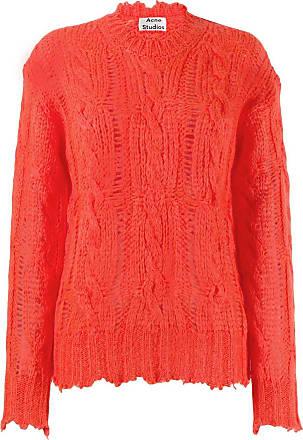 Acne Studios frayed cable knit jumper - Vermelho