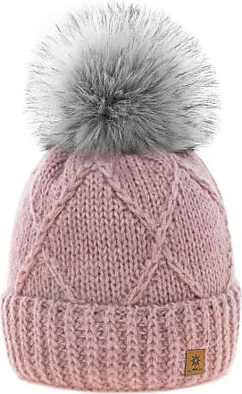 4sold Womens Ladies Beanie Hat Pom Pom Warm Winter Natural Wool Mohair Lining Full Cosy Fleece Liner (Birma Rouse Pink)