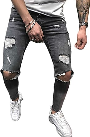 Inlefen Men Retro Destroyed Jeans Zipper Elastic Force Distressed Ripped Denim Trousers Gray S