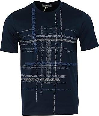 Canali Crew Text Print T Shirt Navy - EU 54 / XXL UK