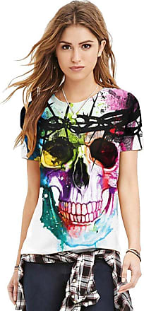 Isshe Womens Plus Size Skull Print Short Sleeve T-Shirt Ladies Baggy Top Loose Style