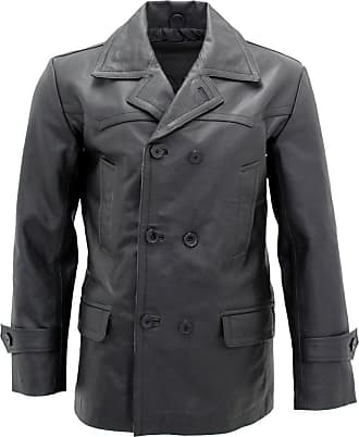 Infinity Mens Black German Naval Dr Who Cow Hide Leather Pea Coat 4XL