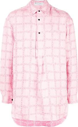 67dbbaaa1f J.W.Anderson Camisa xadrez de linho com logo - Rosa