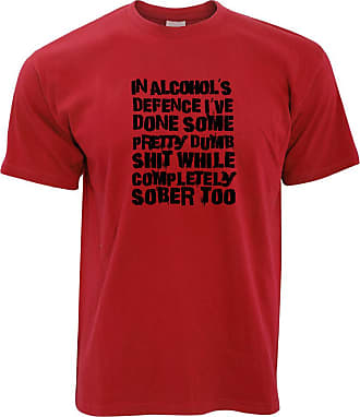 Tim And Ted Novelty T Shirt in Alcohols Defence Slogan - (Red/XXX-Large)