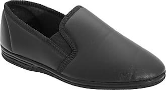 Zedzzz Mens Black Grain PU Twin Gusset Slipper - Ivor - Black - size UK Mens Size 13