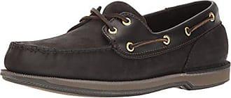 Rockport Mens Perth Boat Shoe,Black/Bark,7.5 W US