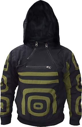Gheri Mens Double Side Zip Cotton Fleece Lined Nepalese Hoodie Jacket Black Medium
