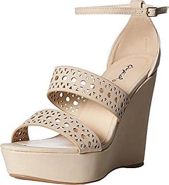 dcf9579c25c8 Qupid Womens Wedge Sandal Beige Nubuck Polyurethane 8.5 M US
