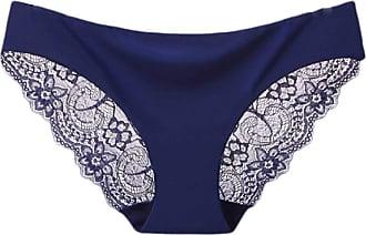 Abetteric Calcinha feminina Abetteric de renda macia, sem aro, de algodão, cintura baixa, pacote com 3, Azul marinho, US X-S=China S
