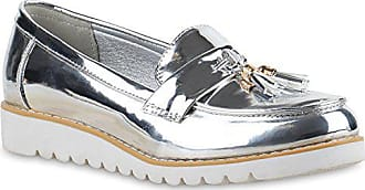 Stiefelparadies Damen Slipper Lack Plateau Loafers Metallic Loafer Flats  Glitzer Slippers Quasten Lochung Schuhe 136592 Silver 64f67e887b