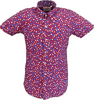 Relco Mens Retro Print Short Sleeved Shirts (XX Large, Burgundy)