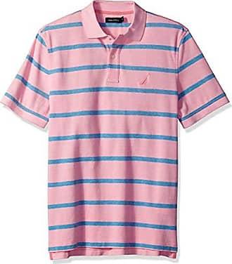 e1921cbd Nautica Mens Short Sleeve Cotton Pique Striped Oxford Polo Shirt, Carnation  Medium