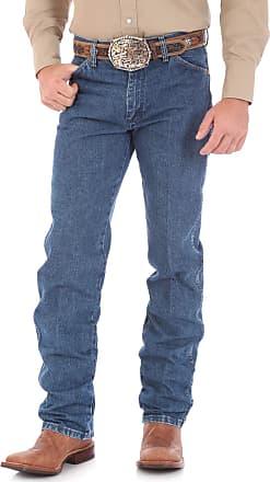 Wrangler Mens Cowboy Cut Original Fit Jean - Stonewashed Gold Buckle, 33W x 34L