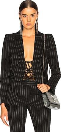 Alexander McQueen Pinstripe One Button Blazer in Black,Stripes