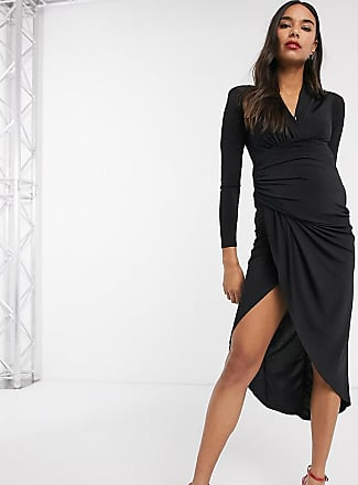 Queen Bee Maternity wrap front maxi dress in black