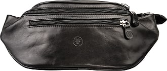 Maxwell Scott Maxwell Scott - Luxury Black Leather Fanny Pack (Centolla)