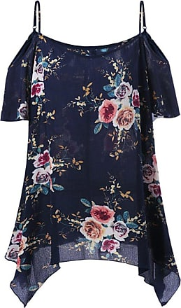 iShine Womens Summer Spaghetti Strap Floral Printed Chiffon Tunic Tops Ladies Cold Shoulder Loose Plus Size Shirt Tops Short Dress