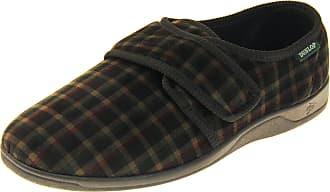 Footwear Studio Dunlop Mens Velour Felt Touch Fastening Slippers Black Velour UK 7