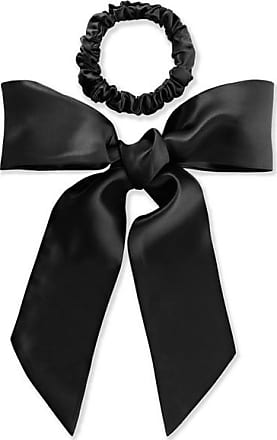 Slip Silk Ribbon And Hair Tie Set - Black