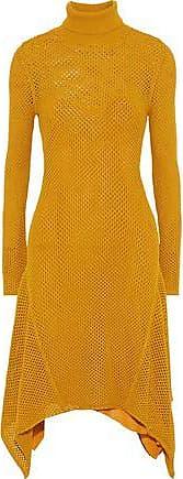 A.L.C. A.l.c. Woman Open-knit Midi Turtleneck Dress Saffron Size L