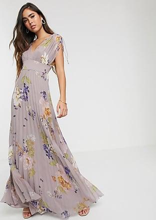 Asos Ärmelloses Maxikleid mit Zierfalten und floralem Print-Mehrfarbig