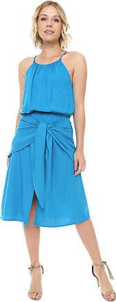 Colcci Vestido Colcci Midi Amarração Azul
