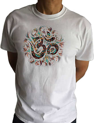 Irony Mens T-Shirt Om Yoga Chakra Meditation India Zen-Print TS1844 White