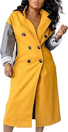 VITryst Women Crew Neck Slim Fit Double Breasted Overcoat Color Block Pea Coat,1,X-Small