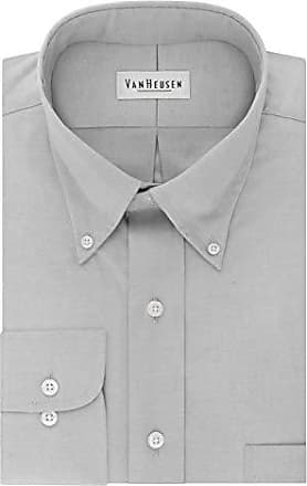 Van Heusen Mens Dress Shirt Regular Fit Non Iron Solid, French Grey, XX-Large