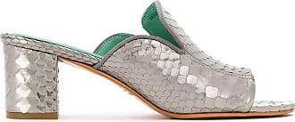 Blue Bird Shoes Mule de couro Python - Cinza
