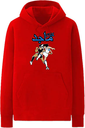 Haililais Captain Tsubasa Pullover Unisex Hoodie Casual Long Sleeve Pullover Couple Comfy Loose Sweatshirt with Pockets Unisex (Color : Red01, Size : Height-185
