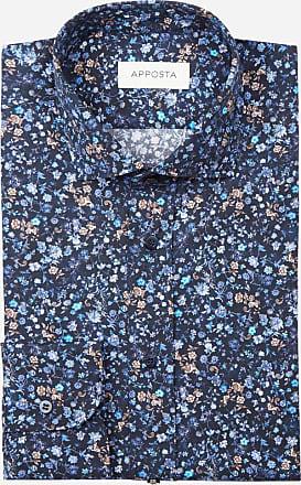 Apposta Camicia disegni a fiori multi 100% puro cotone popeline, collo stile collo francese aggiornato a punte corte