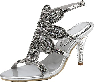 Find Nice Ladies Sexy Rhinestones Wedding Shoes Unique Dress Bride Evening Flower Pattern Sandals Silver 1.5 UK
