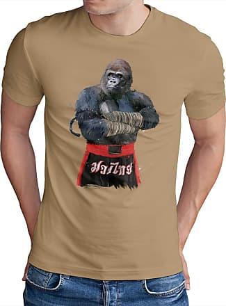 OM3 Muay-Thai-Gorilla - T-Shirt Thailand Monkey Fight APE Boxing Club Motivation Swag Emo, L, Khaki