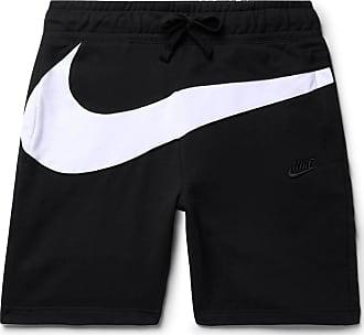 Nike Slim-fit Logo-panelled Loopback Cotton-blend Jersey Shorts - Black