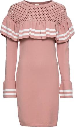 3464f772f619 BODYFLIRT boutique Dam Stickad klänning med volangärmar i rosa - BODYFLIRT  boutique