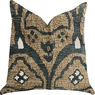 Plutus Brands Tulip Zen Green Taupe Double Sided Luxury Throw Pillow 26 x 26 Brown/Blue/Beige