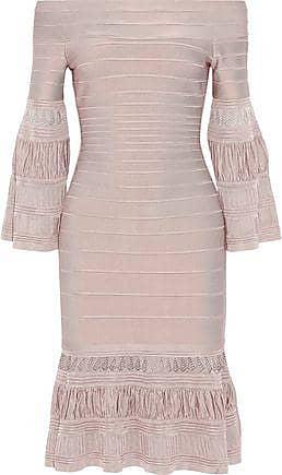 df573621bd4 Hérve Léger Hervé Léger Woman Off-the-shoulder Fluted Bandage Dress Blush  Size XS