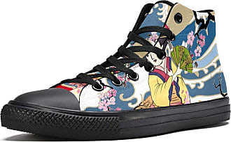 Tizorax High Top Sneakers for Men Traditional Japanese Wave Women in Kimono with Cherry Tree Printing Fashion Lace up Canvas Shoes Casual Walking Shoe