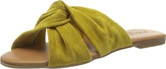 Pieces Womens Psnellie Suede Sandal Flat, Lemon Chrome, 5.5