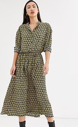 Weekday Trudy geo print midi dress in yellow-Multi