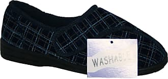 Northwest Territory MENS FULLY WASHABLE LADIES Touch Fastening STRAP SHOE SLIPPER NAVY 11