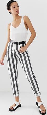 Dr. Denim Nora - Gestreifte Mom-Jeans mit hohem Bund-Mehrfarbig
