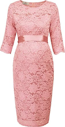 Grace Karin Elegant Pregnant Half Sleeve Lace Dress S AF1026-4 Pink