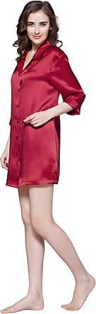 LilySilk Silk Charmeuse Nightshirs for Women Boyfriend Style Button 3/4 Sleeve Mulberry 22 Momme Silk Nightdress Pyjamas 100% Silk Claret Size S