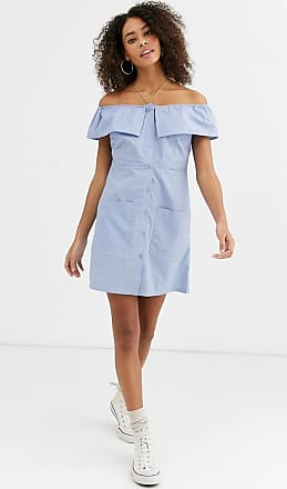 Urban Bliss orla off shoulder dress with button through and pockets-Blue