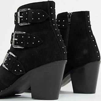 6f032f00923 Asos Wide Fit Region Suede Studded Ankle Boots - Black