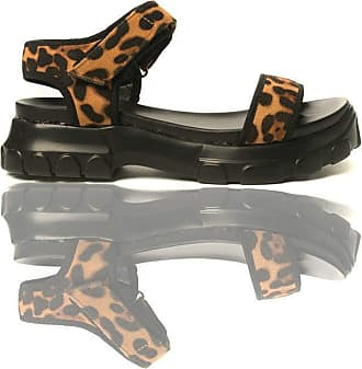 Ikrush Ayla Strap Chunky Sandals Leopard UK 5 Brown