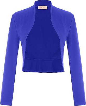 Belle Poque Laides Office Tops Elegant Evening Party Dress Gown Shrug Bolero Coat Royal Blue(788-15) X-Large