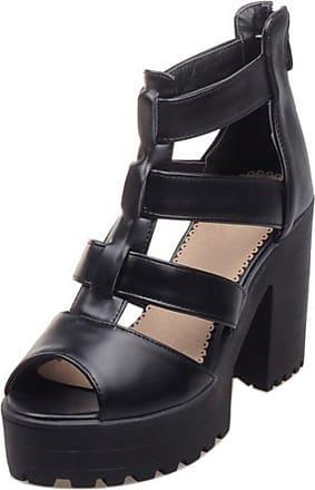 RAZAMAZA Women Chunky Heel Sandals Comfort Platform Gladiator Strappy Shoes (43 EU, Black)